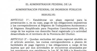 Resolución de la AFIP en beneficio aáreas afectadas por el temporal en Chubut